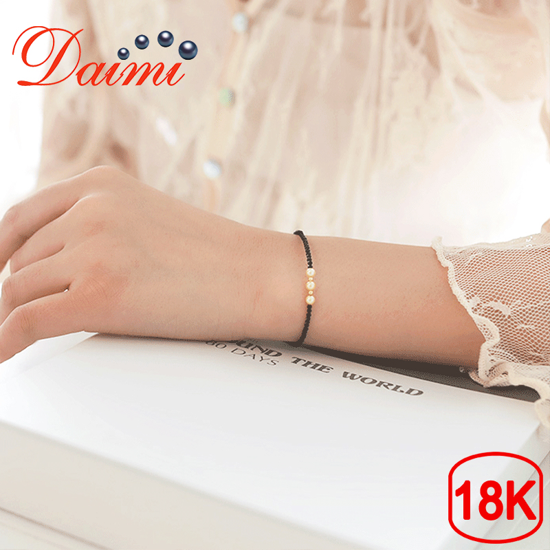 DAIMI Exquisite Small Spinel Bracelet 3 5 4mm Akoya Pearl Bracelet Pure 18K Gold Authentic Female