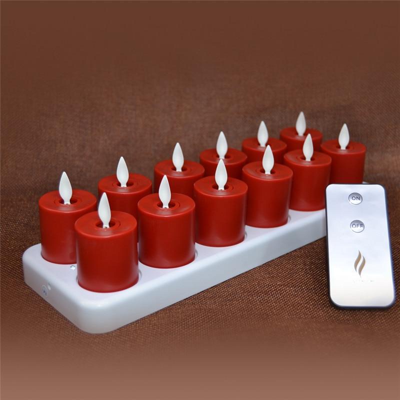 12 Pcs Luminara Rechargeable Tea Light Candles Flameless