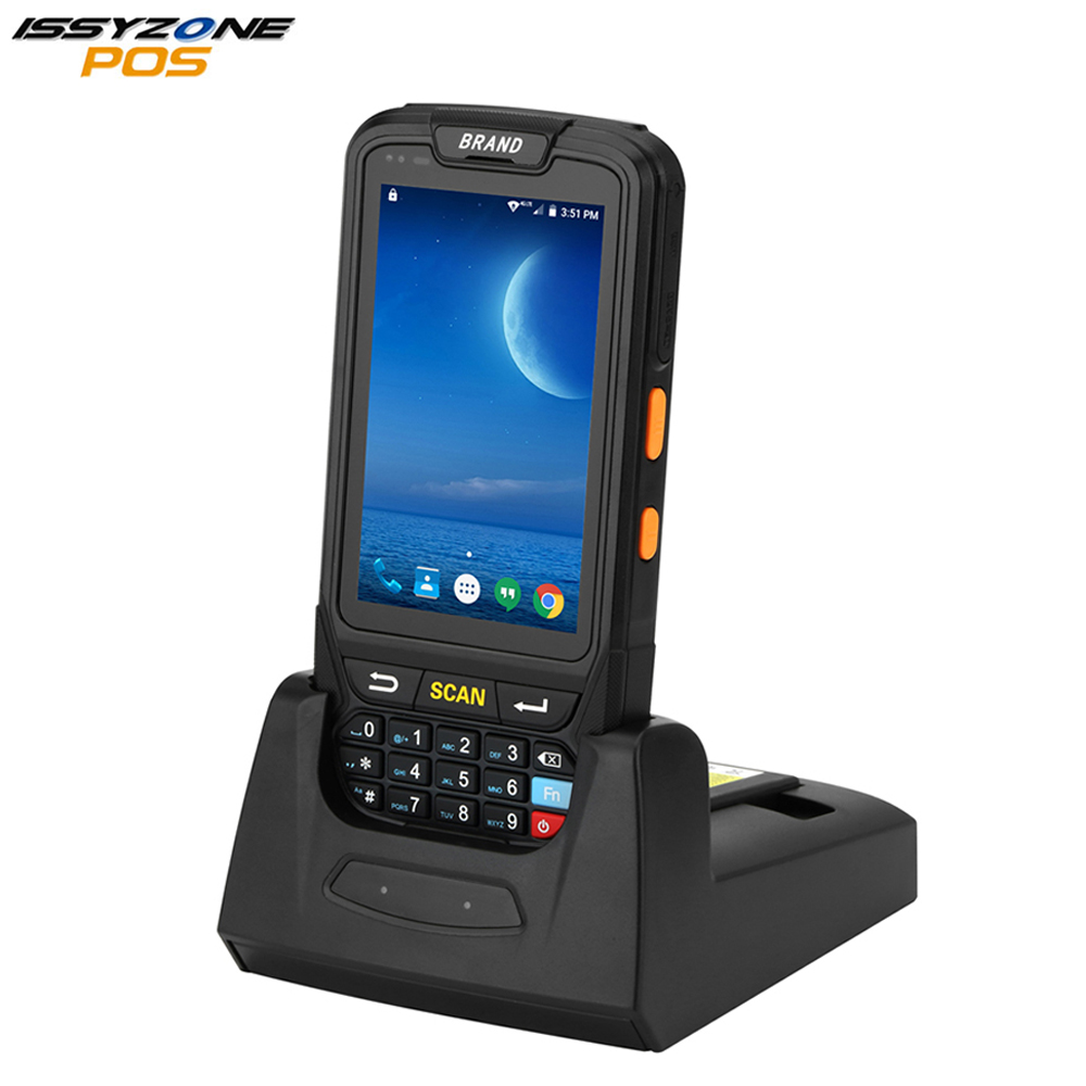 ISSYZONEPOS Wireless 2D Laser Barcode Scanner Android 7.0 Industrial Rugged PDA for Retail Delivery Packing Russian Language