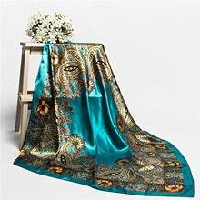ca08ac809b2 Marque de luxe femmes carré Foulard satin soie foulards femme fleur imprimé  dames bureau Foulard Bandana