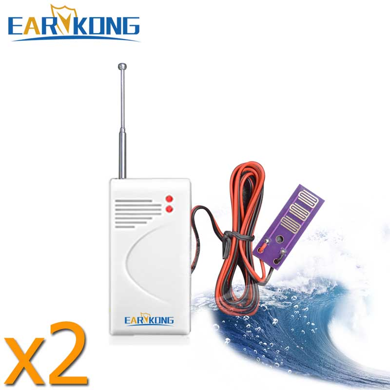 2018 New Wireless Water Leak Sensor Intrusion, 2 Pieces, Work With Earykong  GSM Home Security Voice Burglar Smart Alarm