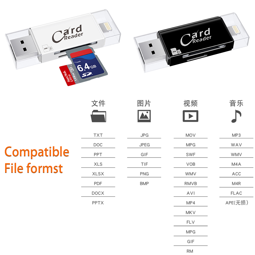Image 4 - USB 3.0 Lightning Card Reader OTG Flash Drive microSD TF Card Memory Card Reader Adapter For iPhone 5 5s 6 7 8 X S6 S7 Edge-in Card Readers from Computer & Office