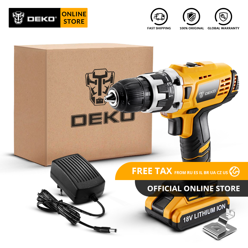 Original DEKO GCD18DU2 18V Cordless Drill Electric Screwdriver Lithium Ion Mini Power Driver Variable Speed LED Standard Set|Electric Drills| |  - title=