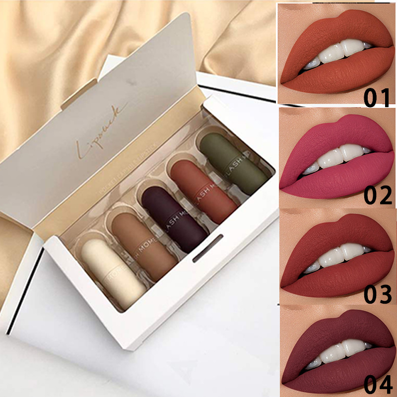 Flash Moment 5pcs/Set Mini Lipstick Set Waterproof Matte Lipstick Long Lasting Makeup Batom Matte Lip Stick Kit Velet Pigment