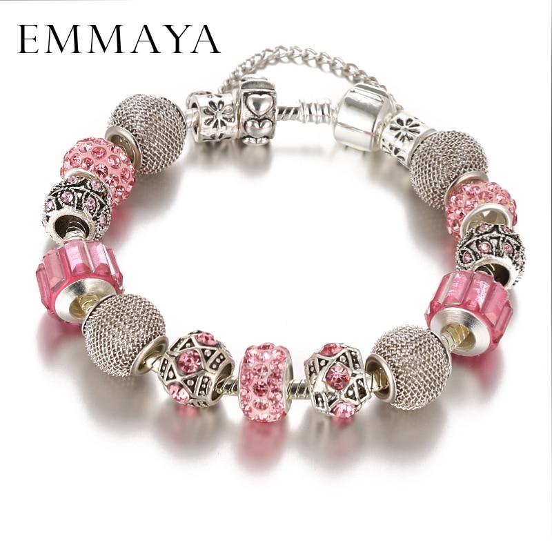 Emmaya Fashion Bracelet&Bangle Lovely Pink Murano Glass Beads Dragonfly Charm Silver Bracelet For Mon&Child Fashion Jewelry Gift
