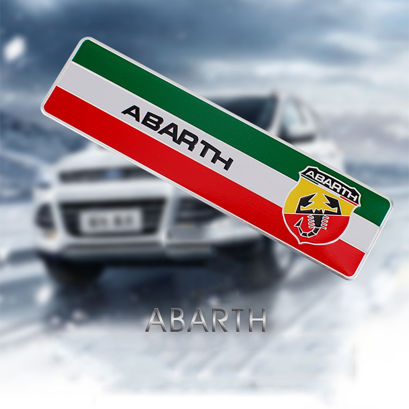 Car Stickers 103*27mm Abarth Labeling Car Aluminum Alloy Badge Sticker Emblem Decal Car Stickers For Fiat 500 Punto Stilo 124 125 695 Ot2000