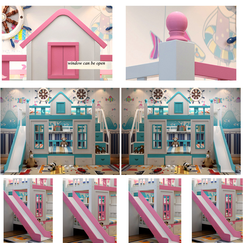 24  0128TB006 Fashionable kids bed room furnishings princess fortress with slide storages cupboard stairs double kids mattress HTB1vQlzo4HI8KJjy1zbq6yxdpXau