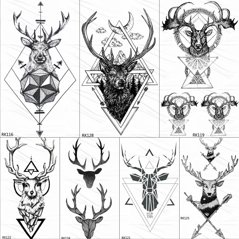 OMMGO Geometric Elk Antlers Temporary Triangle Tattoos Round Arrow Deer Rhombus Tattoo Body Art Arm Black Fake 3D Tatoos Sticker