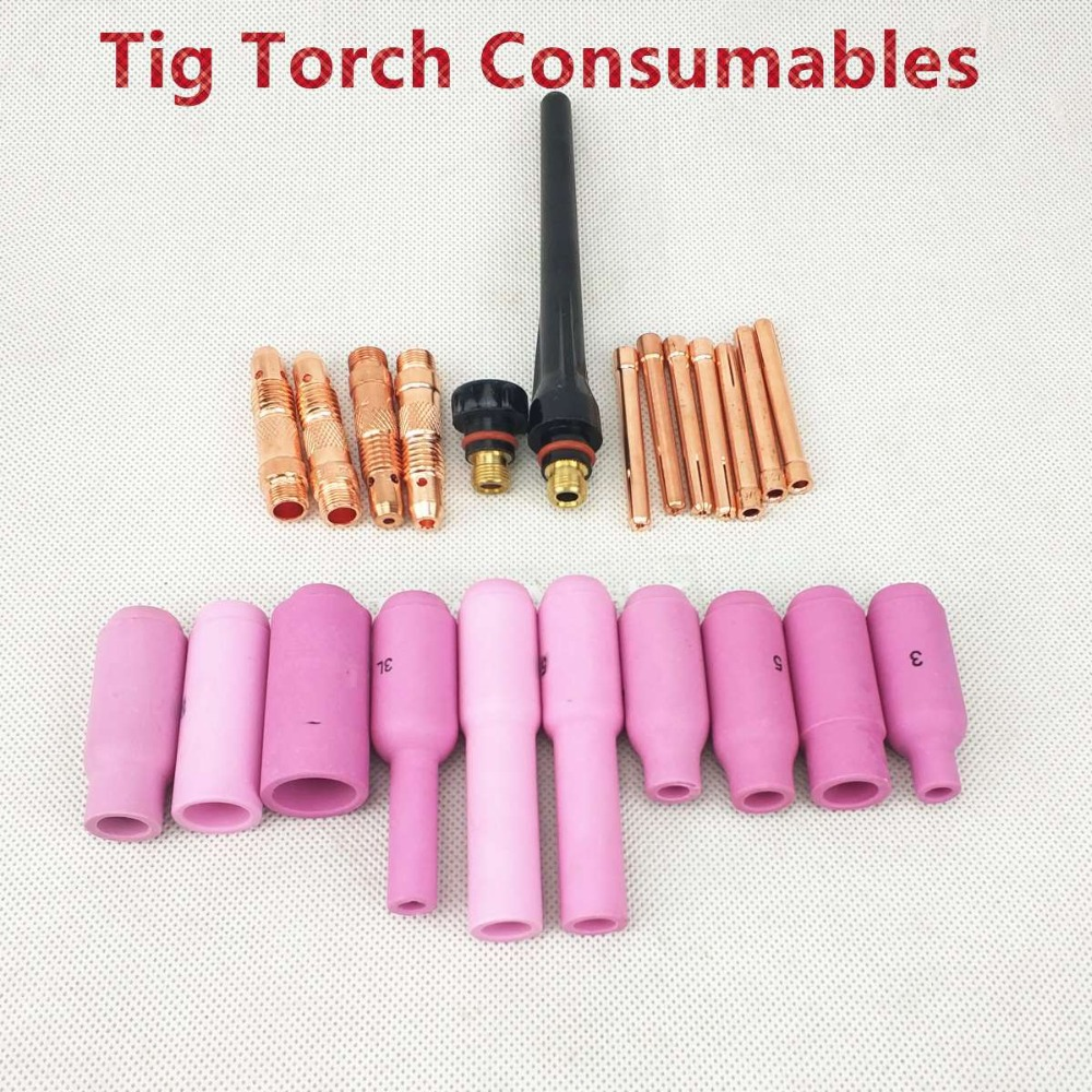 Tig Torch Consumables Collet/Collet Body/Alumina Nozzle/Back Cap For WP17 WP18 WP26 Tig Torch