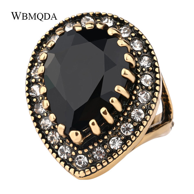 2018 Boho Big Black Stone Ring Antique Gold Mosaic Crystal Turkish Jewelry Vinta
