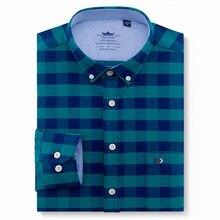ef5060215b Oxford de los hombres de algodón Casual ajuste botón camisas de manga larga  sólido cuadros
