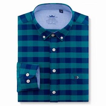 3a03e985e Oxford de los hombres de algodón Casual ajuste botón camisas de manga larga  sólido cuadros rayas de oficina ropa de trabajo vestido