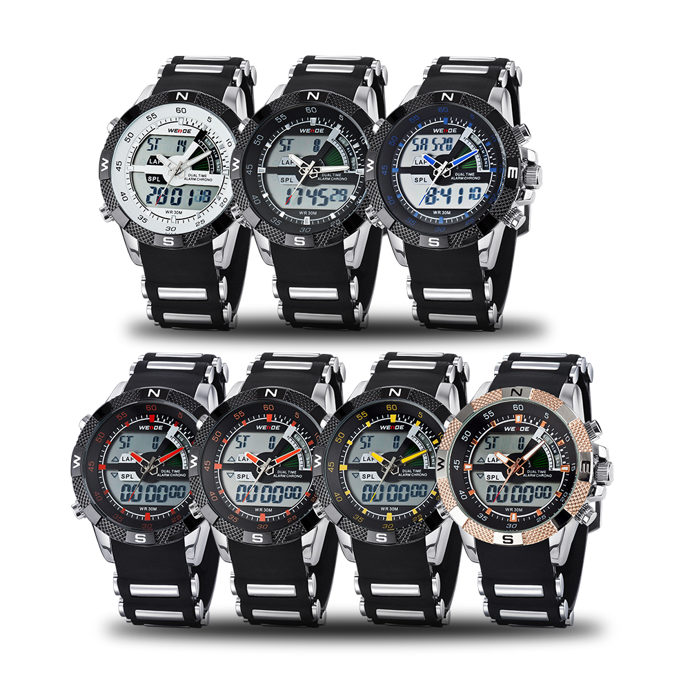 WEIDE luxury brand watches quartz camping shockproof waterproof sport watches men military Silicone digital analog clock table in Quartz Watches from Watches