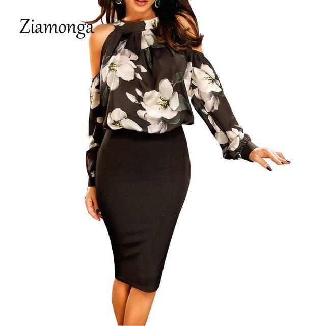 Ziamonga Элегантный с плеча с цветочным рисунком шифоновое платье Для женщин Винтаж офисные Бандажное платье осень сексуальные Вечеринка платья