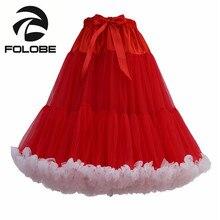 FOLOBE Red Knee Length Tulle Skirt Vintage Tutu Skirts Womens Lolita Party Prom Petticoat faldas de tull Mujer Saias Jupe