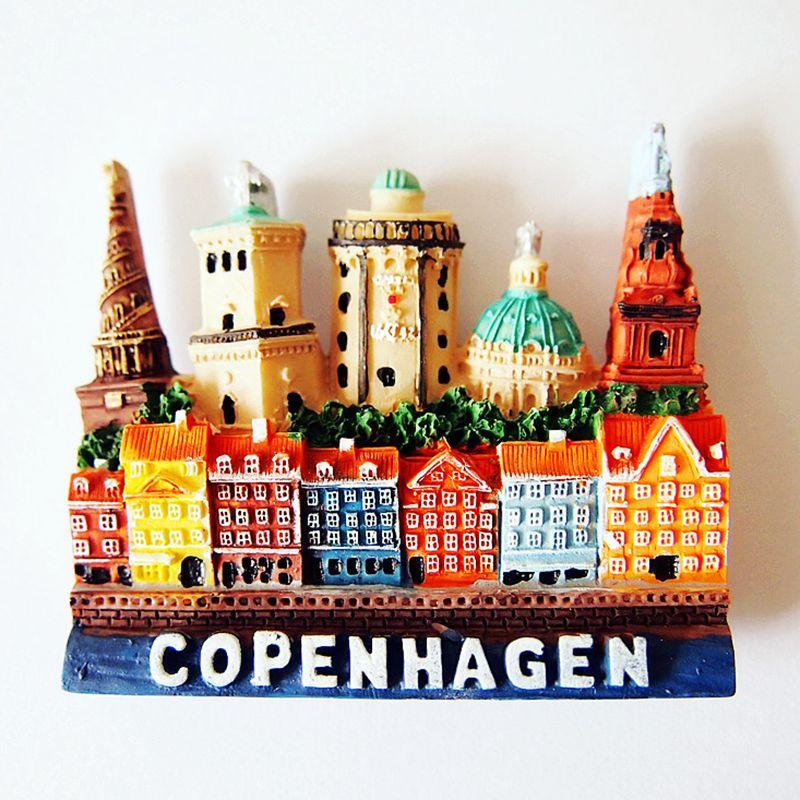 Handmade Painted Copenhagen, Denmark 3D Fridge Magnets