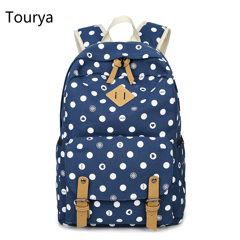 Tourya Women Backpack Printing Shoulder Canvas Backpacks School Bags Bookbag for Teenagers Girls Laptop Rucksack Travel Knapsack 2017 new women printing backpack canvas school bags for teenagers shoulder bag travel bagpack rucksack bolsas mochilas femininas