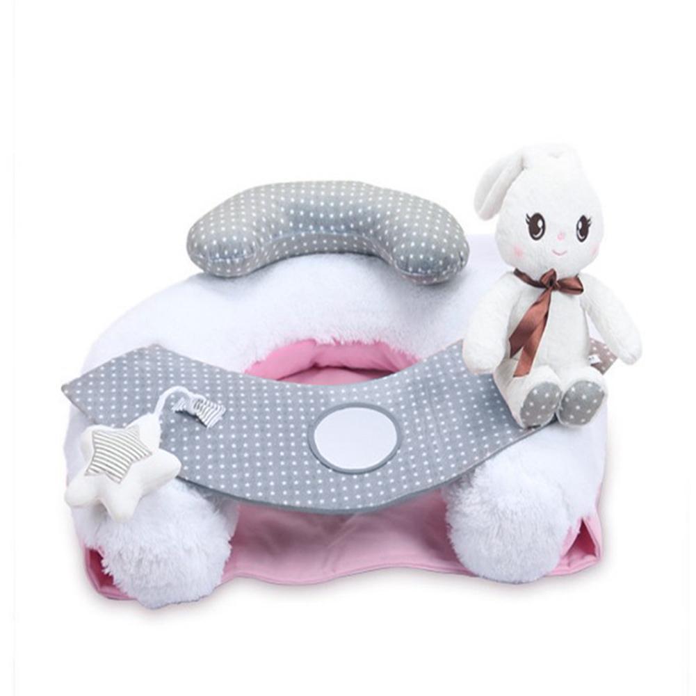 Dessin animé blanc lapin en peluche bébé infantile canapé siège coussin mignon blanc lapin bébé canapé bébé apprendre à s'asseoir et à jouer à la garde des enfants
