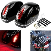 A Pair Motorcycle Hard Saddlebag Side Luggage Tank Tail Side Case Box w/ Retro Oval Red Tail Light For Harley Roadster Road King