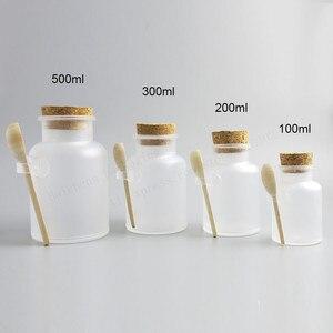 Image 2 - 12 x vazio 100g 200g 300g 500g em pó garrafa plástica 100g banho frasco de sal com cortiça de madeira & colher de madeira