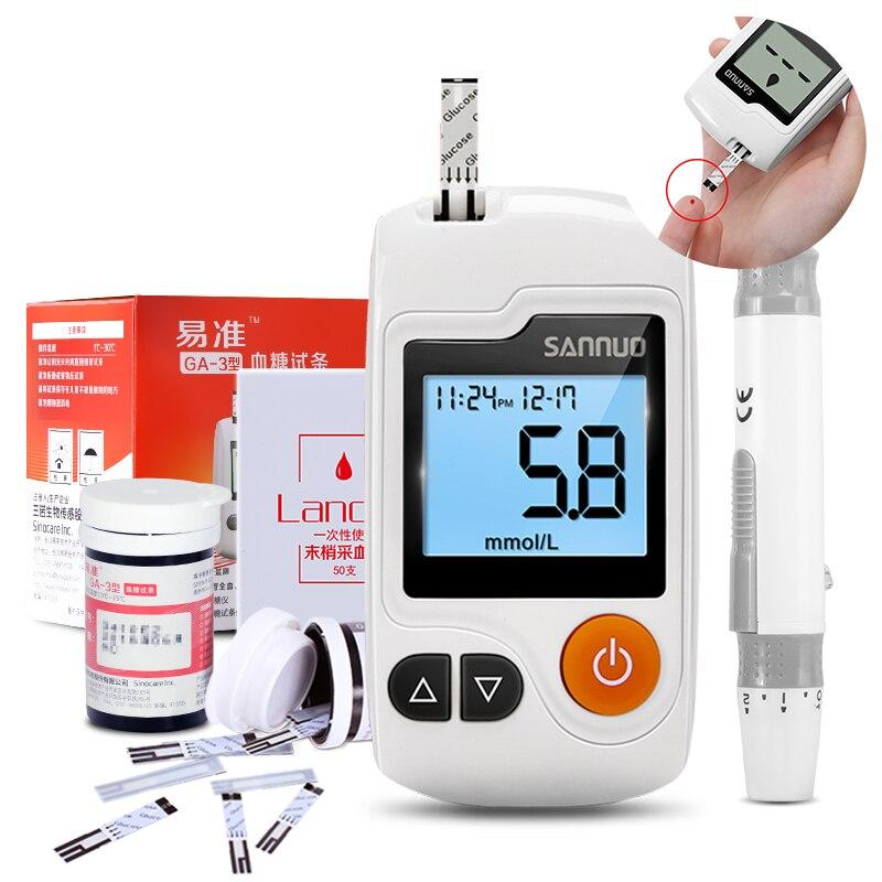 Sinocare Yizhun GA-3 Blood Glucose Meter Sugar Monitor & Test Strips & Lancets Blood Sugar Glm Detection Tester For Diabetes