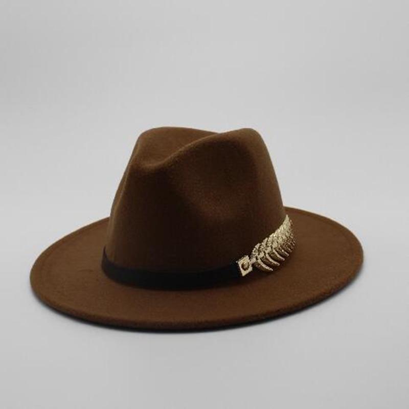Special Felt Hat Men Fedora Hats with Belt Women Vintage Trilby Caps Wool Fedora Warm Jazz Hat Chapeau Femme feutre Panaman hat