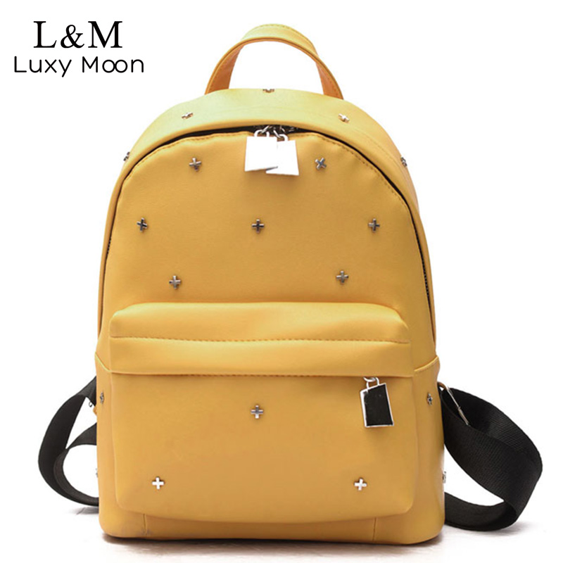 Women Backpack Metal Rivet Black Backpacks PU Leather Bag Teenage Girls School Bags Solid Student Travel 2017 Mochila XA1118H women flats slip on casual shoes 2017 summer fashion new comfortable flat shoes woman loafers zapatos mujer plus size 35 42