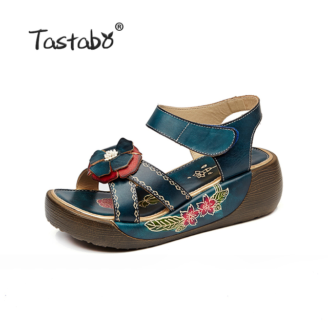 Tastabo Genuine Leather Gladiator Sandals Fashion Low Wedges Flower Summer Shoe Ladies Platform Sandals Shoes Women Flat Shoes 2