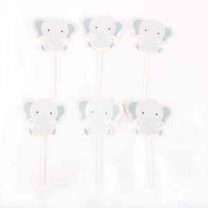 Image 4 - 24 ピース/ロットかわいい象のテーマパーティーのためのカップケーキトッパー家族ベビーシャワーの誕生日パーティーの装飾用品