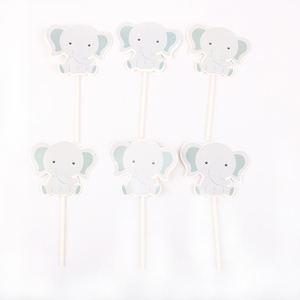 Image 4 - 24pcs/lot Cute little elephant Theme Party Cupcake Toppers   For Family baby shower Birthday Party  Decoration Supplies
