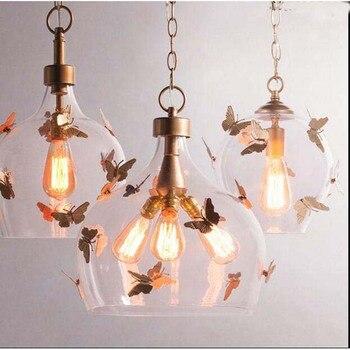 Lámpara colgante de barra de hierro decorativa LED americano Simple comedor vidrio creativo dormitorio CL ZX179 lo1021
