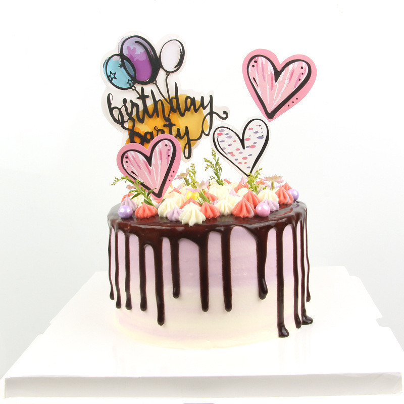 Awesome New Hand Painted Love Heart Cake Toppers Happy Birthday Cake Funny Birthday Cards Online Fluifree Goldxyz