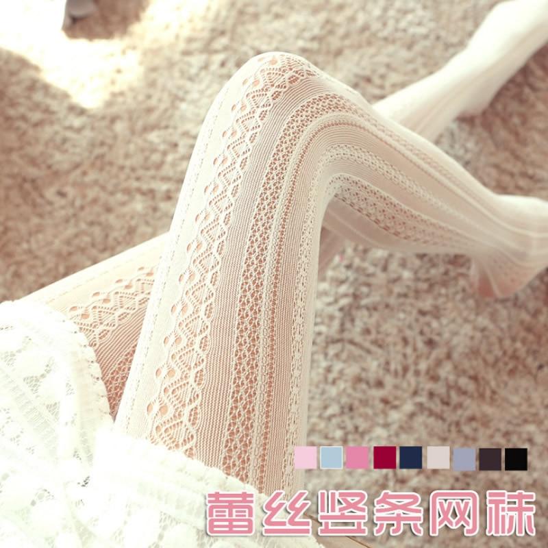 Lente zomer meisjes panty holle gestreepte sexy kousen vrouwen vrouwelijke Lolita nylon panty Japanse panty met voet hete verkoop