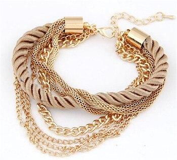 Fashion Multilayer Bracelet for Women Bracelets Jewelry Women Jewelry Metal Color: coffee