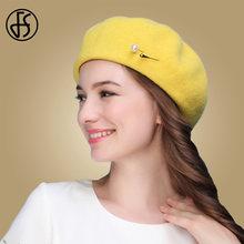 f7a2cb163a7 FS Black Yellow Autumn Winter 100% Wool Beret Hats Women French Artist Felt  Berets Warm Caps Elegant Fedoras Ladies Church Hat