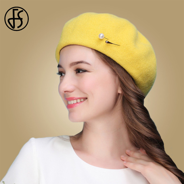 FS Hitam Kuning Musim Gugur Musim Dingin 100% Wol Topi Baret Wanita  Perancis Artis Merasa 2ed5ff5158