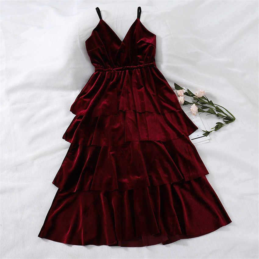 Осеннее винтажное бархатное платье цвета фуксии, золотистого цвета на тонких бретельках, элегантные женские вечерние бархатные платья, зимние платья, 668