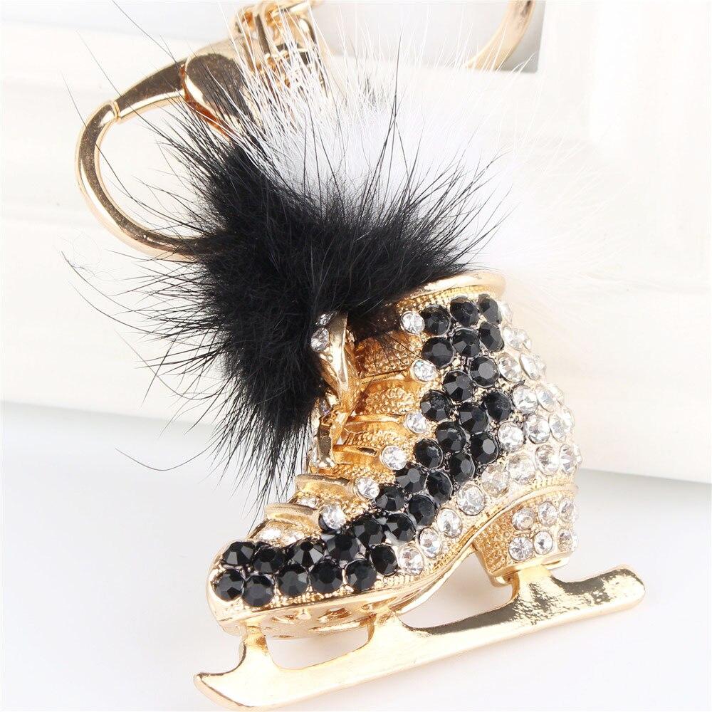 Black Roller Skates Shoe Feather Pendant Charm Rhinestone Crystal Purse Bag Keyring Key Chain Accessories Wedding Party Gift
