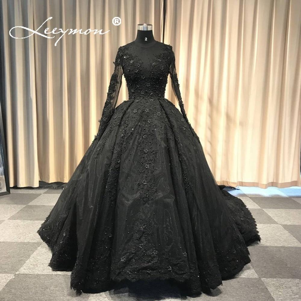 Full Sleeve Wedding Gown: 2018 Vintage Black Wedding Dress Long Train Ball Gown Full