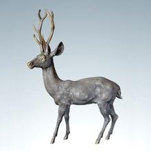 ATLIE BRONZES Copper Brass deer statue Large  Auspicious fengshui Soft outfit decoration Symbolize longevity