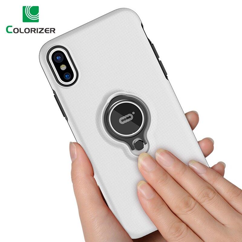 Anillo soporte magnético para iPhone 7 7 6 6 s más casos de Metal giratoria anillo de dedo suave TPU claro cubierta para iPhone X XR XS.