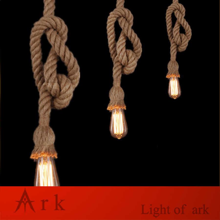 Lámpara colgante de cuerdas de cáñamo Vintage de 1 metro, lámpara Industrial con personalidad para Loft, Bombilla Edison de estilo americano para decoración para sala de exposición