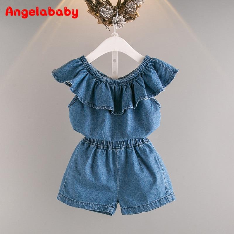 Baby Girls Clothing Set 2018 Summer New Korean Fashion Personality Cowboy Word Shoulder Girl T-shirt + Denim Shorts Suit