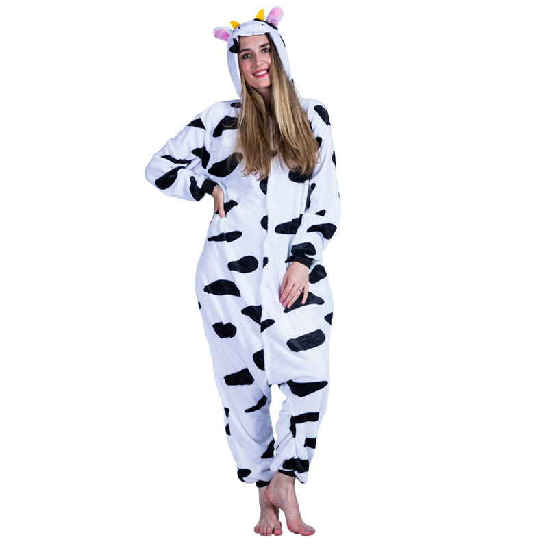 plus size russia ladies kigurumi winter adult kigurumi milk cow thickness loose long jumpsuit women halloween costumes 2017 - Halloween Costume Cow