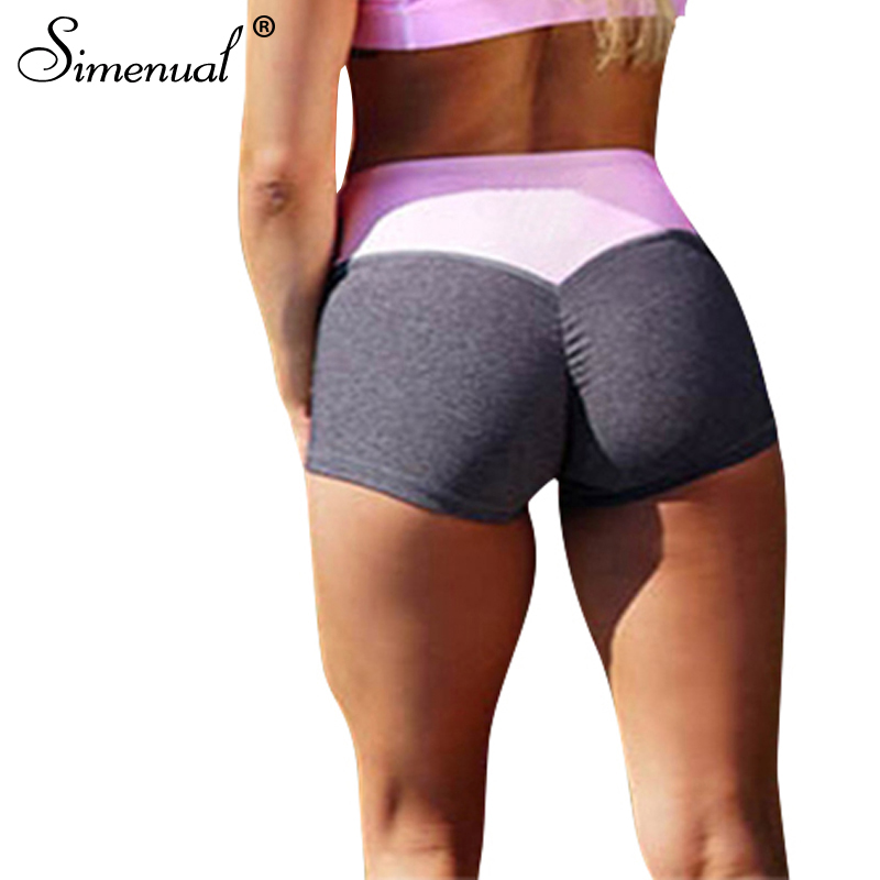Simenual Ruching push up   shorts   sportswear 2018 patchwork slim body fitness   short   women clothing summer pink   short   femme sale