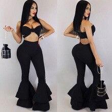 565a53f477a5e1 Black Flare Fashion Pants Women Stretch elastic Ruffle sexy slim Pants  Skinny Trousers High Waisted Bell