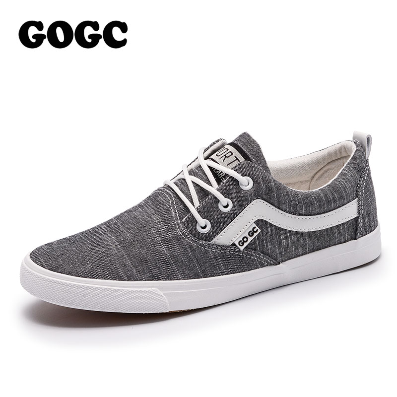 GOGC 2018 New Casual Shoes Men Sneakers Big Size Canvas Shoes Men Comfortable Flat Shoes Lace-Up Vulcanized Shoes Men Loafers men s leather shoes vintage style casual shoes comfortable lace up flat shoes men footwears size 39 44 pa005m