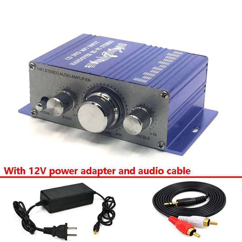 HY2001 Mit 12V Power Adpter Und Audio Kabel Mini Power Verstärker HIFI Stereo Amplificador Dac Audio