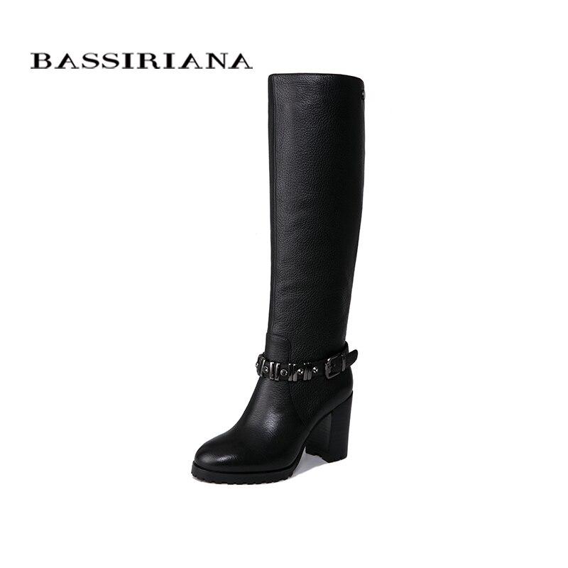BASSIRIANA nouveau 2018 en cuir véritable chaussures femme haute bottes d'hiver haute talons bout rond noir et brun taille 35- 40