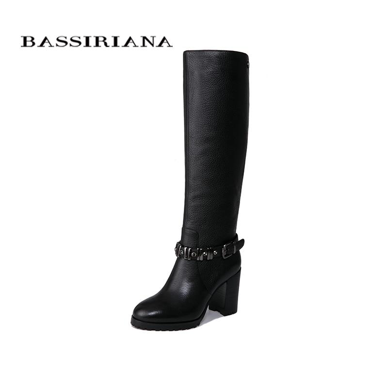 BASSIRIANA nuovo 2018 genuino scarpe di cuoio della donna alti stivali invernali tacchi alti punta rotonda nero e marrone taglia 35- 40